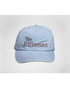 Denim cap with brown embroidery, front