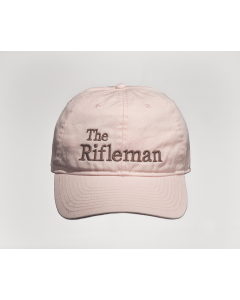 Pink cap with brown embroidery, front