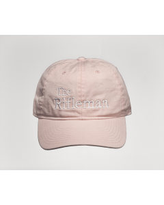 Pink cap with white embroidery, front view