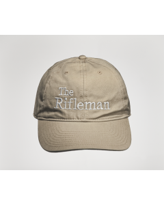Tan cap with white embroidery, front