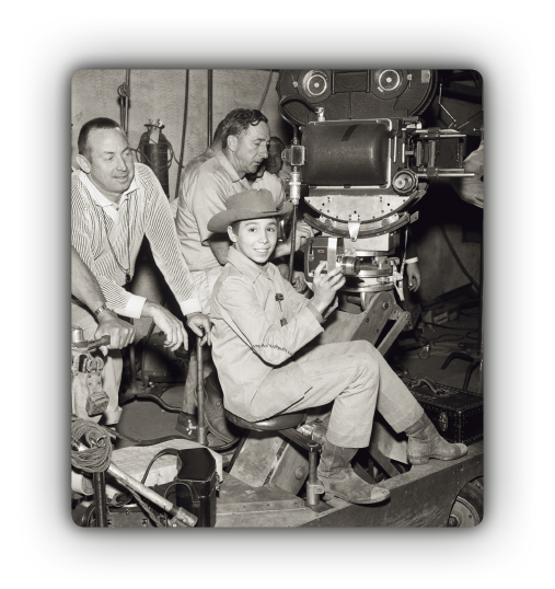 Johnny Crawford on the set of The Rifleman with the camera crew
