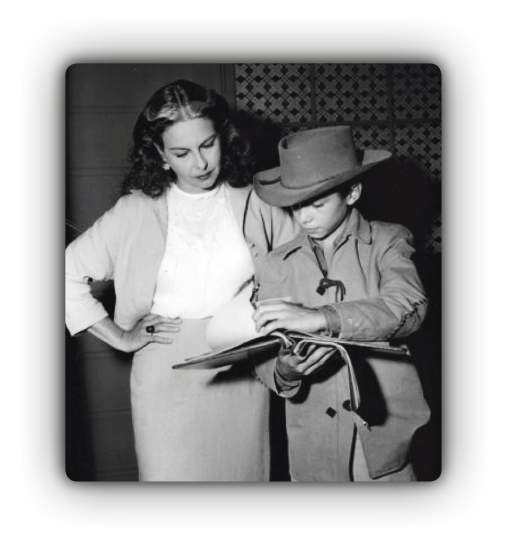Johnny Crawford and his mother review a script together