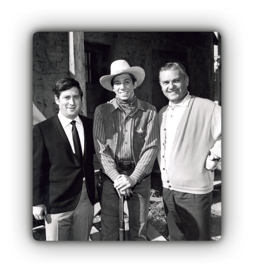 Johnny's brother Bobby Crawford is flanked by The Rifleman producers and co-founders Jules Levy and Arthur Gardner